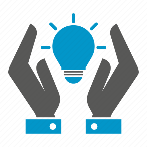 bulb, hand, hold, idea, light icon