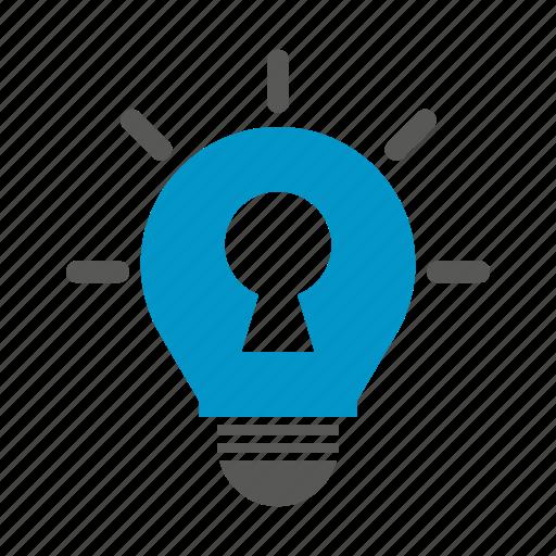 idea, light bulb, lock, secret, security, think icon