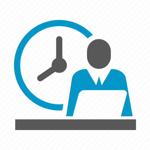 clock, laptop, office, people, working icon