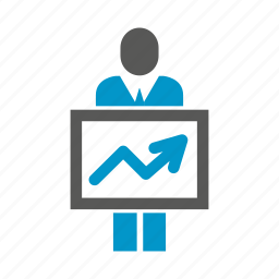 graph, people, present, signage icon
