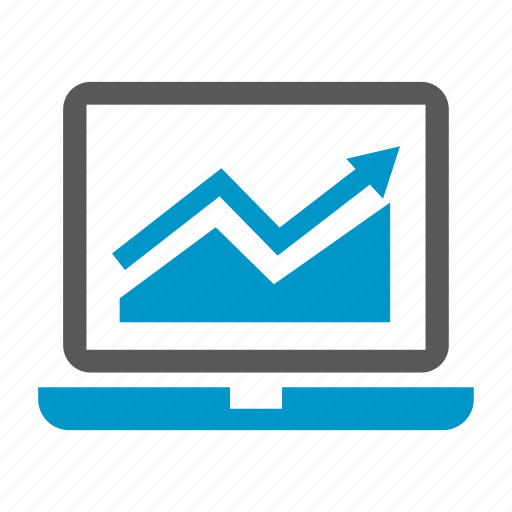 chart, computer, data, graph, laptop icon