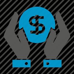 dollar, hand, hold, money, save icon