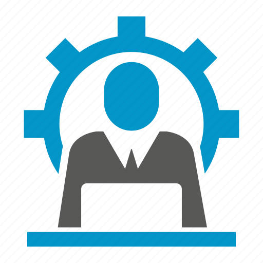 cog, computer, gear, laptop, working icon