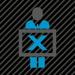 ban, cross, people, present, wrong icon