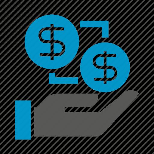 allocate, hand, hold, money icon