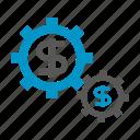currency, gear, cog, money