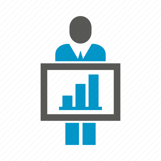 business people, chart, graph, present icon