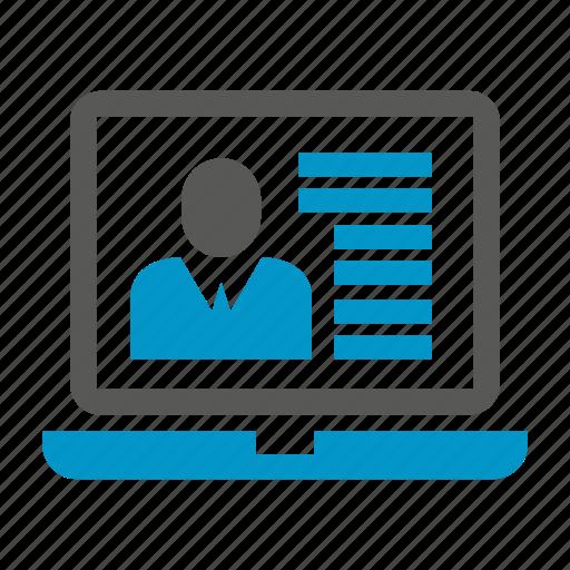 laptop, online resume, people, profile icon