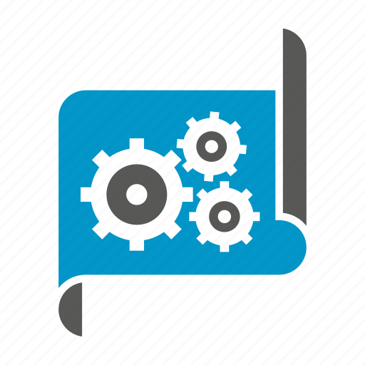 cogs, document, gears, paper, plan icon