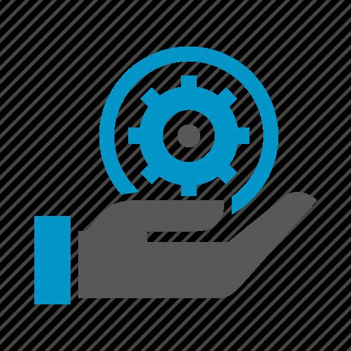 cog, gear, hand, hold, logic icon