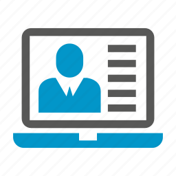 computer, laptop, profile icon