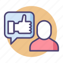feedback, rating, review, thumbs up icon