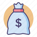 bag, finance, money, money bag icon
