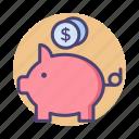 bank, banking, piggy bank, savings icon