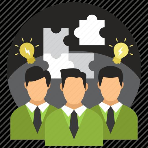 group, idea, leader, puzzle, teamwork icon