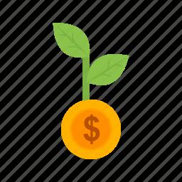 growth, increase, investors, money, profit, revenue, startup icon