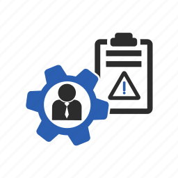 exception, gears, list, management, project, report icon