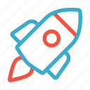 business, development, idea, launch, rocket, startup, technology icon