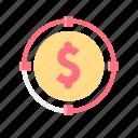 growth, investor, money, raise, startup, stock, up icon