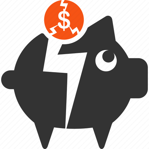 bankrupt, bankruptcy, crash, damage, fail, piggy bank, problem bank icon