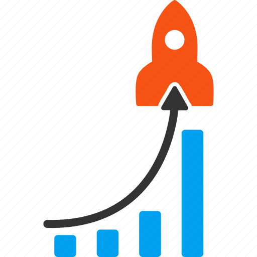 bar chart, charts, launch, rocket science, start up, startup, success icon