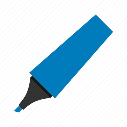 blue, highlighter, hovytech, office, school, stationery, work icon