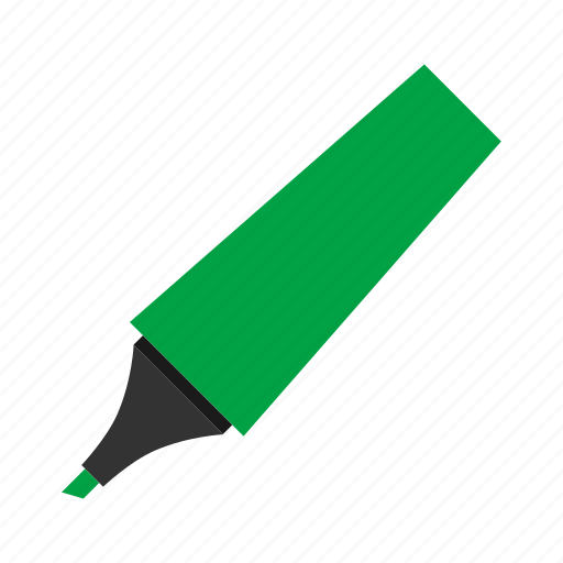 green, highlighter, hovytech, office, school, stationery, work icon
