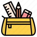 pencil, case, bag, stationery, office, supply