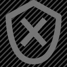 close, delete, shield icon