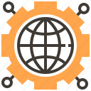 cogwheel, education, gear, international, settings, world grid, worldwide icon