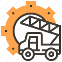 cogwheel, repairing, transport, transportation, truck, wrench icon