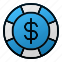 blue chip, business, dollar, finance, investment, money, stocks icon