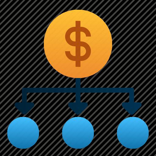 diversification, dollar, finance, investment, management, money, stocks icon