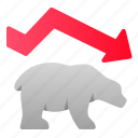 bearish, business, downtrend, finance, graph, investment, stocks icon