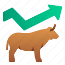 bullish, business, finance, graph, investment, stocks, uptrend icon