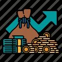 interest, discount, profit, rate, percent, arrow