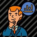 brain, process, head, businessman, investment, thinking, graph