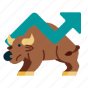 bull, stock, up, investment, animals icon