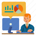 desk, worker, man, office, investment, graph, stock icon