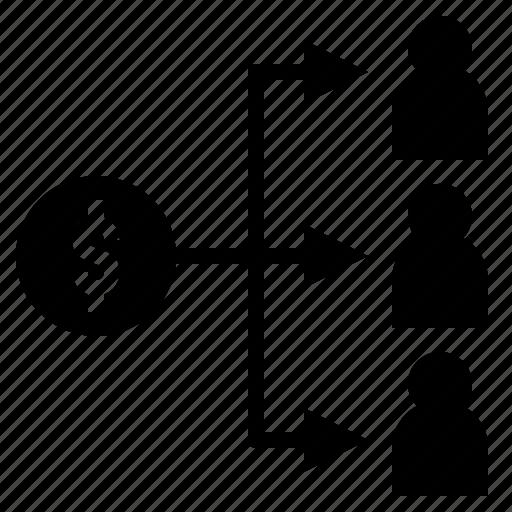 allot, commission, distribute, portion, share icon