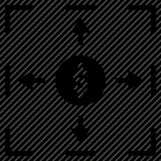 border, coin, expand, hedge, margin icon