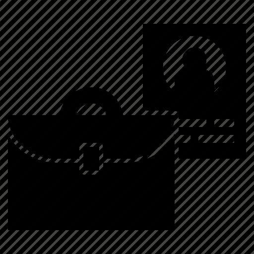 briefcase, folder, portfolio, profile, resume icon