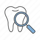 checking, dental, examination, healthcare, magnifier, search, tooth icon