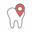 clinic, dental, location, pin, pointer, teeth, tooth icon