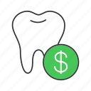 cost, dollar, money, price, service, stomatology, tooth icon
