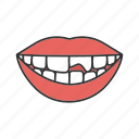 broken, chipped, mouth, restoration, teeth, tooth, treatment icon