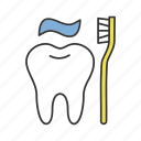 brushing, care, dentifrice, hygiene, tooth, toothbrush, toothpaste icon