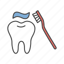brushing, dentifrice, dentistry, hygiene, tooth, toothbrush, toothpaste icon