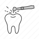 dental, dentistry, drill, drilling, stomatology, tooth, treatment icon
