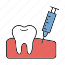 anesthesia, dental, dentistry, gum, injection, tooth, treatment icon